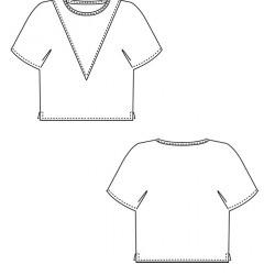 Ein einfaches T-Shirt Schnittmuster mit angschnittenen Ärmeln.