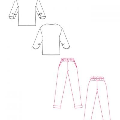 schnittchen Schnittmuster Shirt und Hose Polly technische Zeichnung