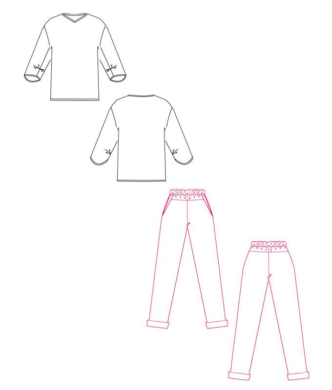 Schnitmuster Shirt und Hose Polly