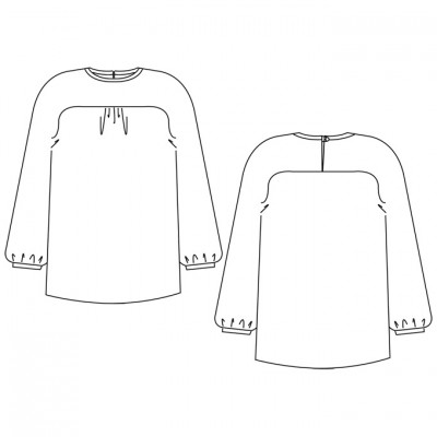 Schnittmuster Bluse Mila - technische Zeichnung / Sewing Pattern Blouse Mila - technical drawing