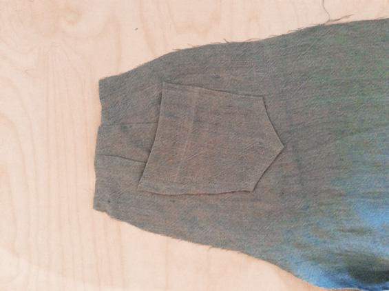5) Mit Heftfaden die Markierungen für die Gesäßtaschen auf die rechts Stoffseite übertragen. Taschen links auf rechts auf die Markierungen stecken und von rechts knappkantig aufsteppen.