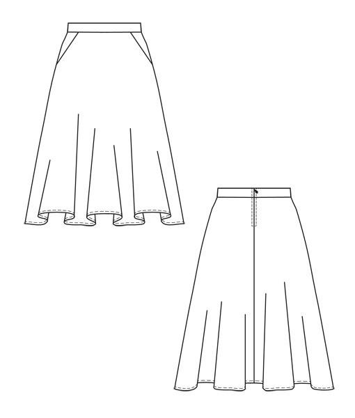 Schnittmuster Rock Jacky ist ein Tellerrock mit Seiteneingrifftaschen.