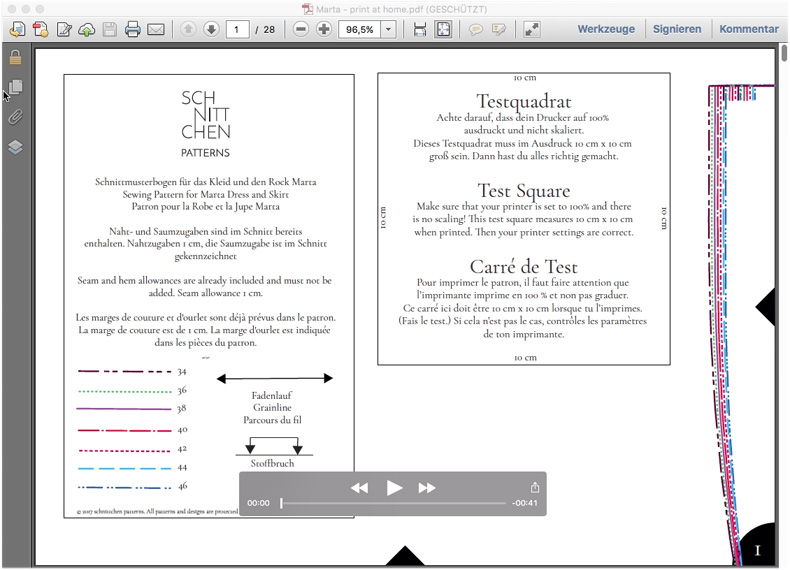 Sommerkleid nähen lernen - PDF Schnittmuster zusammenkleben