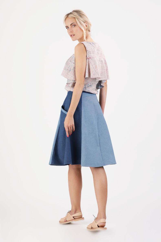 Der perfekte Sommerrock: A-Linie, schräge Taschen und Knopfleiste